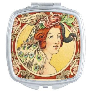 Miroir compact femelle 2 d'art déco