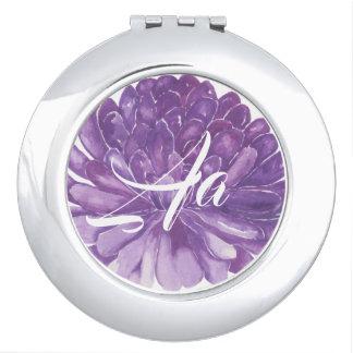 """Miroir compact """"fleur de cercle de lavande """""""