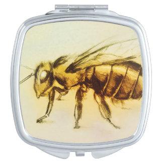 Miroir compact illustré coloré - abeille