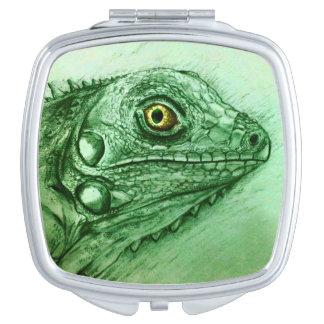 Miroir compact illustré coloré - iguane