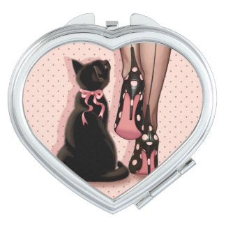 Miroir Compact Jeune femme élégante et chat noir
