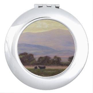 Miroir Compact Les montagnes pourpres et jaunes W effraye le