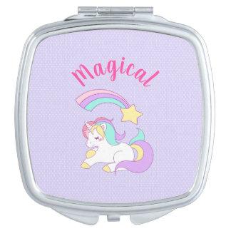 Miroir Compact Licorne magique avec l'étoile filante