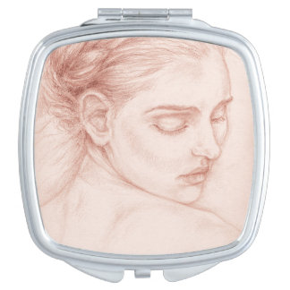 Miroir Compact Madame victorienne Portrait Drawing
