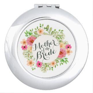 Miroir Compact Mère élégante de la jeune mariée épousant le
