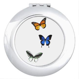 Miroir Compact Miroir de contrat de motif de papillon