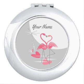 Miroir Compact Miroir de contrat de nom de lune d'amour de