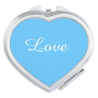 Miroir Compact Miroir girly de contrat de turquoise d'amour pour