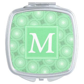Miroir Compact Motif de cercles de vert de ressort de monogramme
