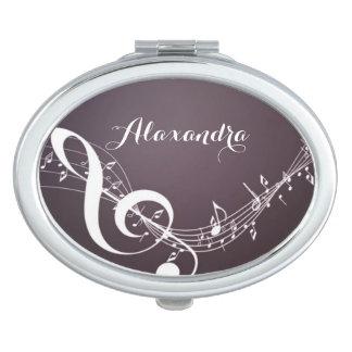 Miroir Compact Notes de musique sur le contrat de miroir