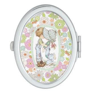 "Miroir compact ovale ""avec d'amour"" de Sarah Kay"