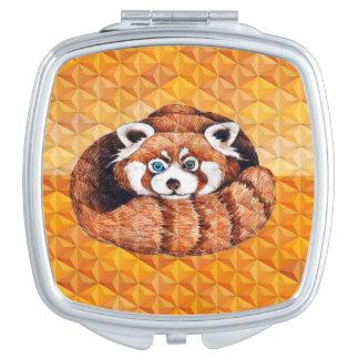 Miroir Compact Panda rouge sur le cubisme orange Geomeric