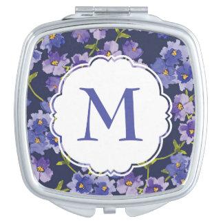 Miroir compact personnalisé floral pourpre de