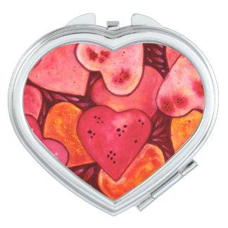 Miroir compact pour aquarelle de beau coeur