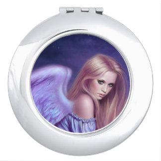 Miroir compact rond d'art d'ange gardien de