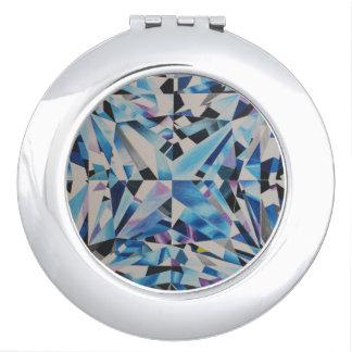 Miroir compact rond de diamant en verre