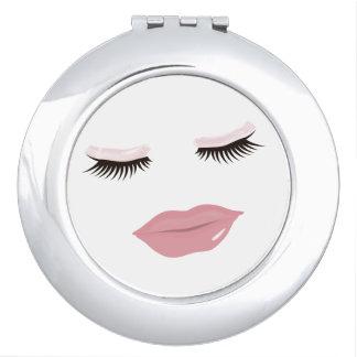 Miroir compact rond de lèvres assez roses