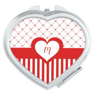 Miroir Compact Rouge décoré d'un monogramme et le blanc barre le