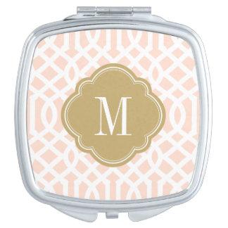 Miroir Compact Rougissent monogramme de rose et de treillis d'or