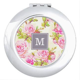 Miroir Compact Vieux contrat rose M de monogramme de motif floral