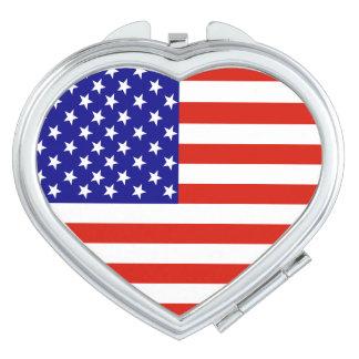 Miroir de contrat de coeur de drapeau des miroirs de poche