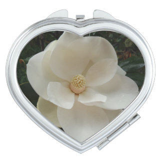Miroir de contrat de coeur de fleur de magnolia miroirs de maquillage