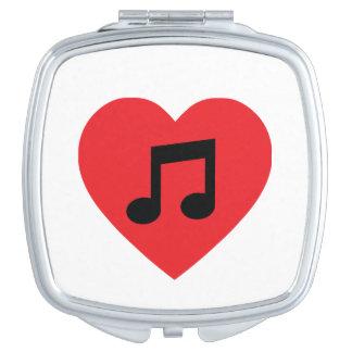 Miroir de contrat de coeur de note de musique miroirs de voyage