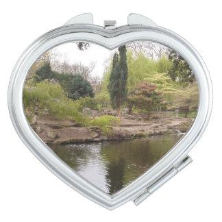 Miroir de contrat de coeur de paysage miroirs à maquillage