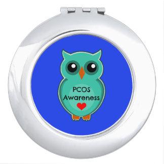 Miroir de contrat de hibou de conscience de PCOS Miroirs Compacts