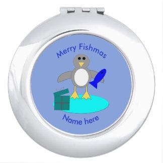 Miroir de contrat de pingouin de pêche de Joyeux Miroir De Voyage
