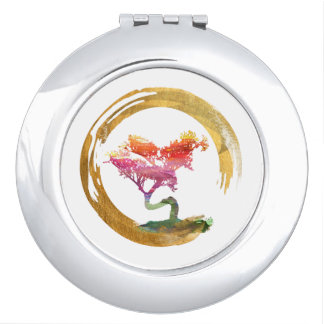 Miroir De Maquillage Arbre de bonsaïs. Aquarelle Feng Shu de cercle