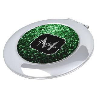 Miroir De Maquillage Beau monogramme d'étincelles de scintillement de