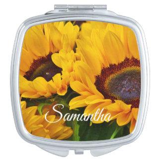 Miroir De Maquillage Beau tournesol personnalisé de jaune orange