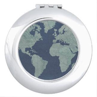 Miroir De Maquillage Carte de toile bleue du monde
