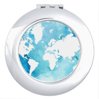 Miroir De Maquillage Carte du monde dans des bleus d'aquarelle