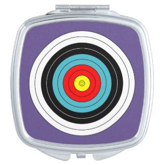Miroir De Maquillage Cible de tir à l'arc de sports sur le pourpre