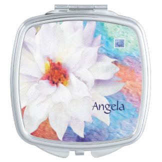 Miroir De Maquillage Fleur blanche moderne sur l'arrière - plan pour