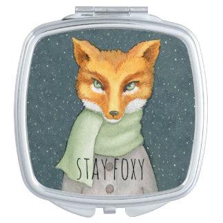 Miroir De Maquillage Fox dans l'illustration d'aquarelle de chutes de