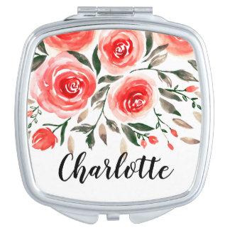 Miroir De Maquillage Illustration rose florale mignonne d'aquarelle de