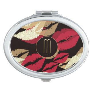 Miroir De Maquillage Lèvres de rouge à lèvres sur le monogramme noir