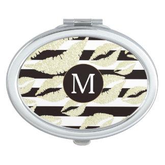 Miroir De Maquillage Lèvres d'or sur le monogramme de rayures