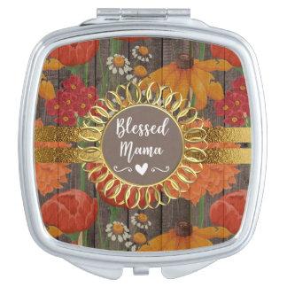 Miroir De Maquillage Maman bénie par or en bois rustique floral orange