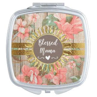 Miroir De Maquillage Maman bénie par or en bois rustique floral rose