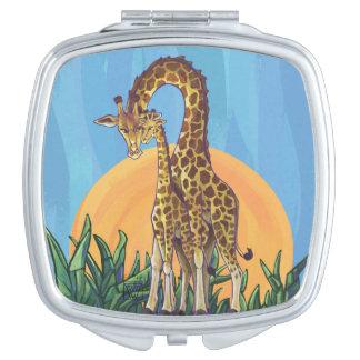Miroir De Maquillage Maman et bébé de girafe