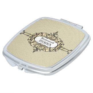Miroir De Maquillage Mariage-Faveur-Monogramme-Or-Modèle