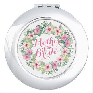 Miroir De Maquillage Mère du miroir floral de contrat de mariage de