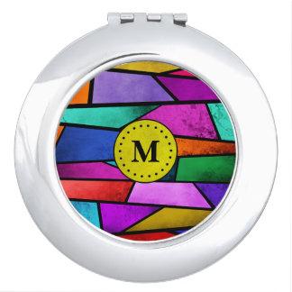 Miroir De Maquillage Miroir abstrait coloré de contrat d'or de