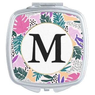 Miroir De Maquillage Miroir tropical de contrat de motif de monogramme
