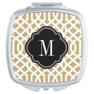 Miroir De Maquillage Noir et monogramme de treillis d'or