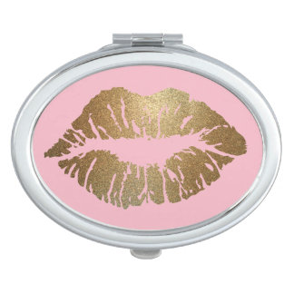Miroir De Maquillage Ovale de miroir de contrat de rose de baiser de
